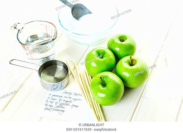 Ingredients for preparing homemade black candy apples