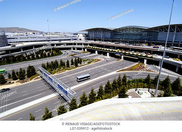Aerial view of San Francisco International Airport. California. USA