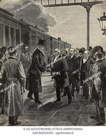 Meeting between German Chancellor Leon von Caprivi and Francesco Crispi in Milan train station, Italy, drawing by A Bonamore