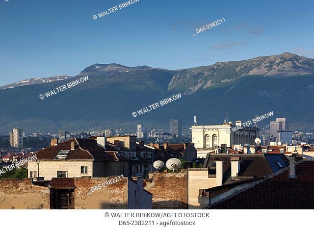 Bulgaria, Sofia, elevated dawn view of downtown and Mt. Vitosha