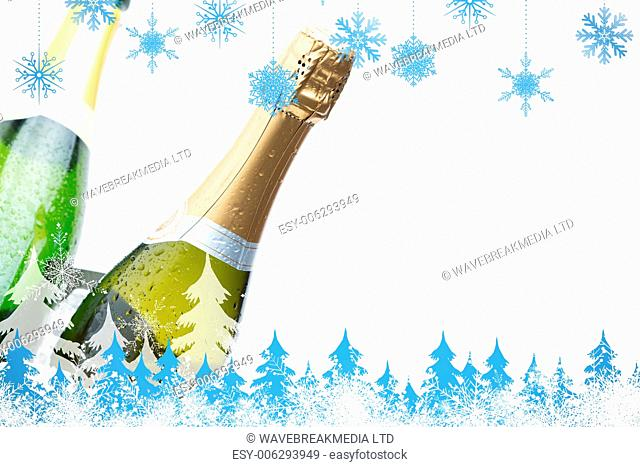 Snowflakes and fir trees against two champagne bottles chilling on ice