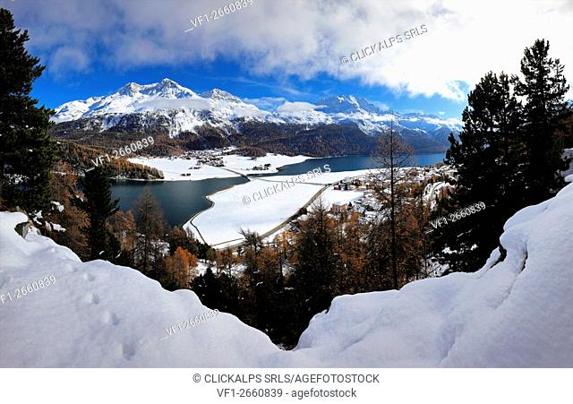 Panoramic over Silvaplana with Champfersee and Silvaplanersee, Engadin, Grisons, Switzerland