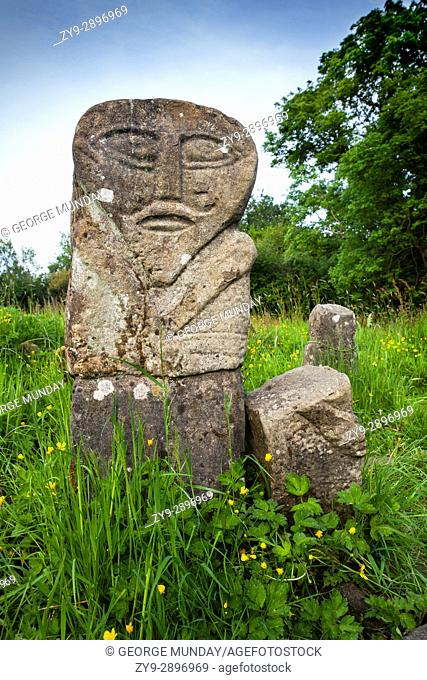 The front of the Boa Island bilateral figure, regarded as one of the most enigmatic and remarkable stone figures in Ireland