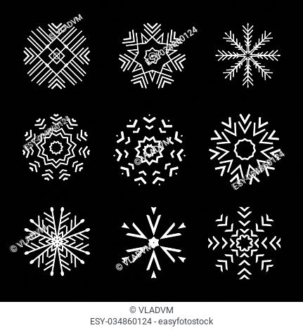 The Set of 9 vector abstract snowflakes