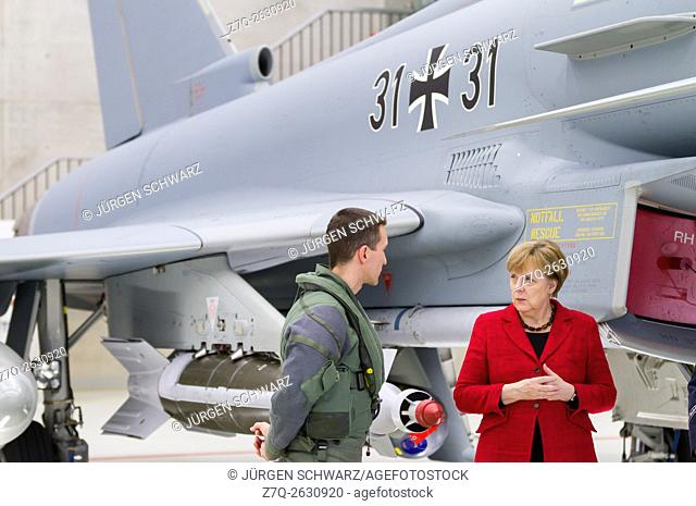 "Chancellor Angela Merkel visits Tactical Air Force Squadron 31 """"Boelcke"""" in Noervenich, 03/21/2016"