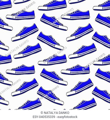 blue textile youth shoes with white laces, seamless pattern isolated on white background