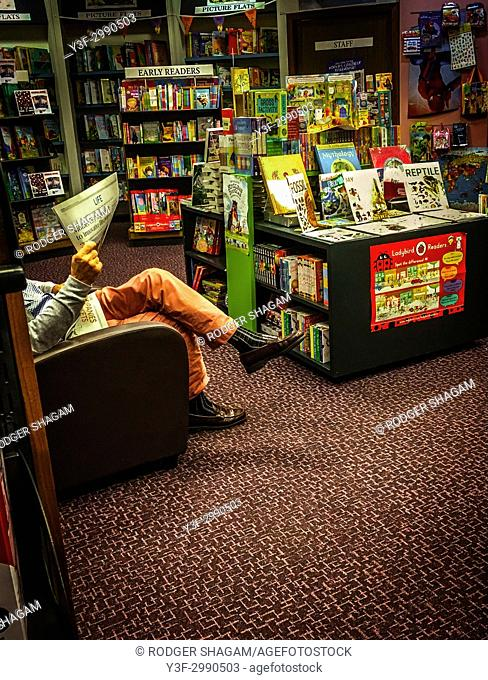 The reading corner of a local village bookstore. Cape Town, South Africa
