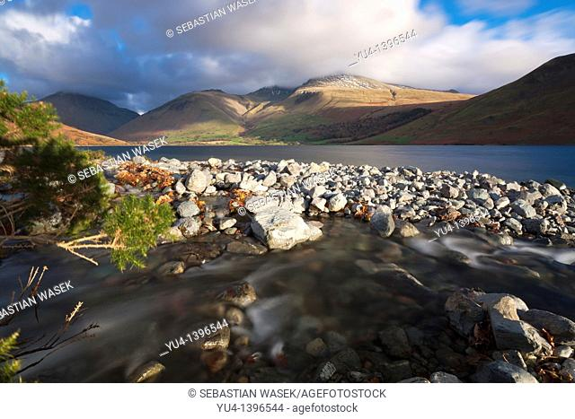 View over Wast Water towards Scafell Pike, Lake District National Park, Wasdale, Cumbria, England, Europe