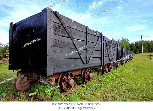 Old coal mining rail cars used to bring coal out of the mine at Springhill, Nova Scotia, Canada