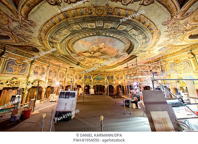 A view of the central ceiling mural Apollo and the 9 Muses, after the completion of conservation and restoration work, at the Margravial Opera House in Bayreuth