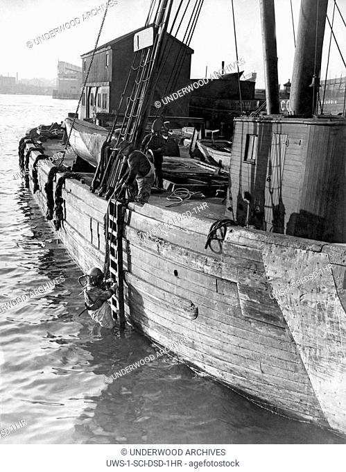 c. 1918.A deep sea diver enters the water from a ladder on the side of a ship
