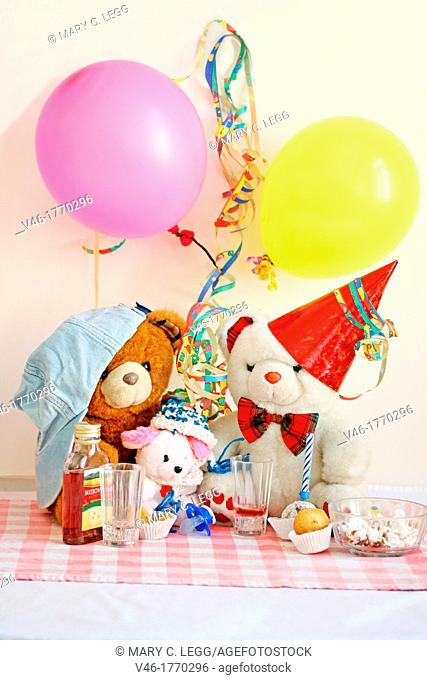 Teddy Bear Birthday Party  Three bears have a birthday party with cake, popcorn and mead  A white bear with red party hat and brown bear with light blue jeans...
