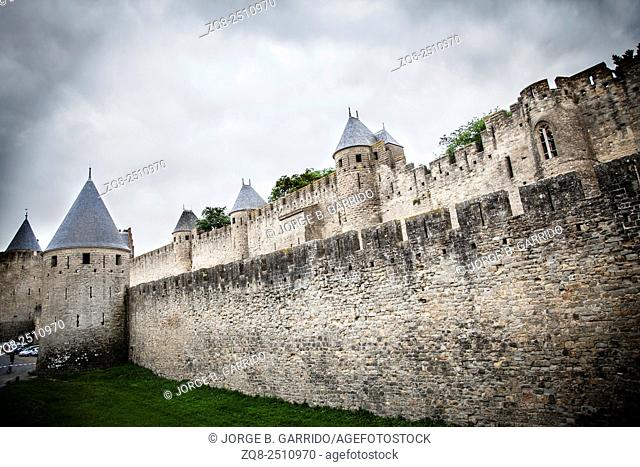 The medieval fortress and walled city of Carcassone