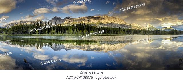 Canadian Rocky Mountains reflected in Spillway Lake, Peter Lougheed Provincial Park, Alberta (digitally spliced panorama)