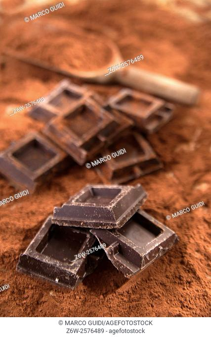Presentation of some cubes of dark chocolate on a bed of cocoa
