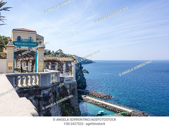 View of the coast from Sorrento, a beautiful hotel in foreground