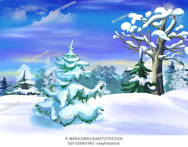 Snow Covered Spruce in a Winter Forest Clearing. Handmade illustration in a classic cartoon style