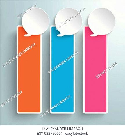 Three Colored Speech Bubble Oblong Banners PiAd