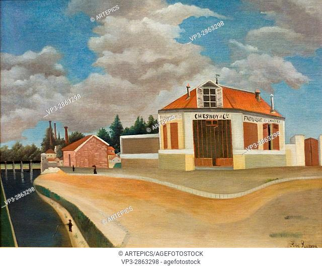 """Henri-Julien Félix Rousseau aka """"""""Le Douanier"""""""". La fabrique de chaises à Alfortville - The chair factory in Alfortville. . XX th Century"""