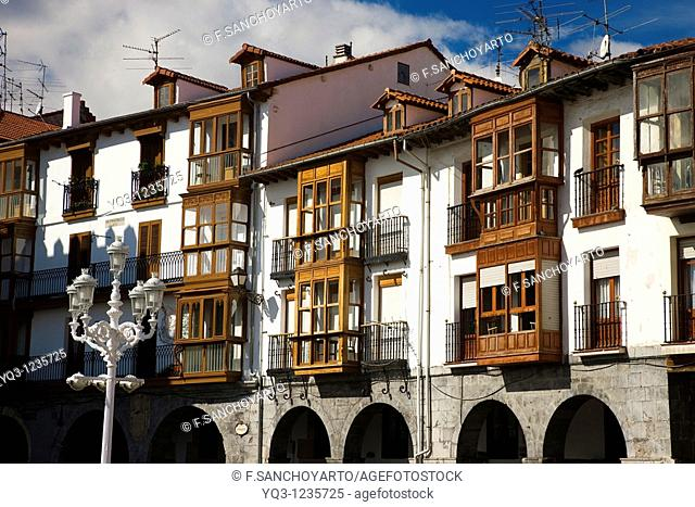 Buildings in the old town, Castro Urdiales, Cantabria, Spain
