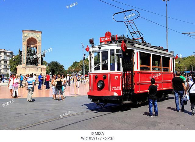 Nostalgic Tram at Istanbul, Turkey