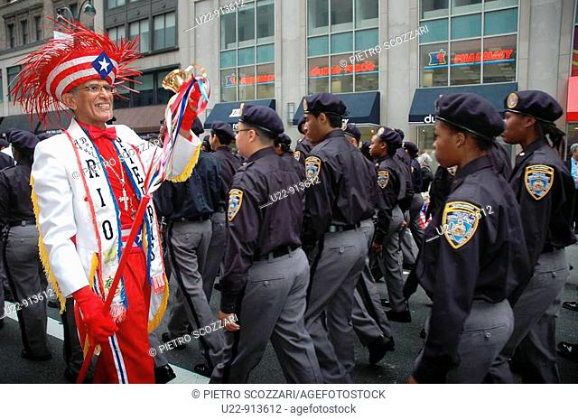 New York City (USA): NYPD cadets at the Puerto Rican parade