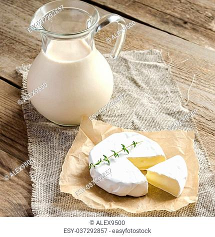 Camembert with pitcher of milk