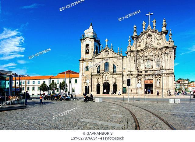 Porto city, Portugal October 17, 2013: Gomes Teixeira Square and two churches: Igreja do Carmo and Igreja dos Carmelitas