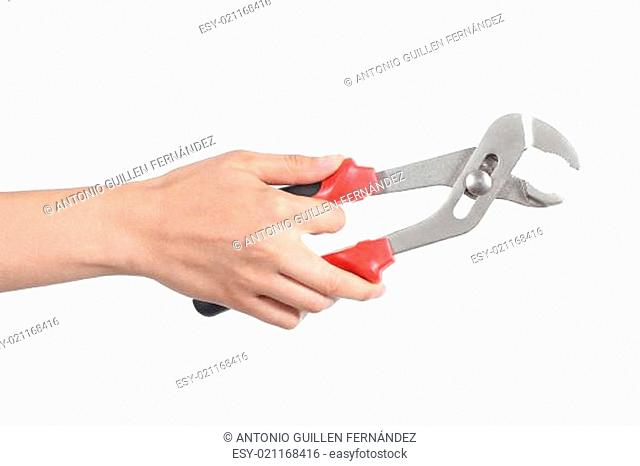 Woman hand using a water pump pliers opened