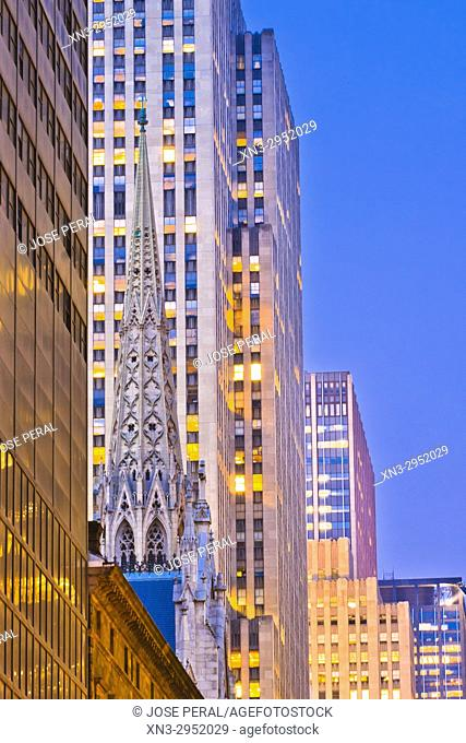 51st Street, St. Patrick's Cathedral spire and skyscrapers, Midtown, Manhattan, New York City, New York, USA