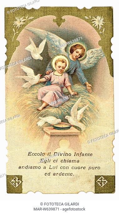 GESÙ BAMBINO angelo adorante 'Eccolo il Divino Infante/ Egli ci chiama/ andiamo a Lui con cuore puro/ ed ardente.' Immaginetta cromolitografica, 1902
