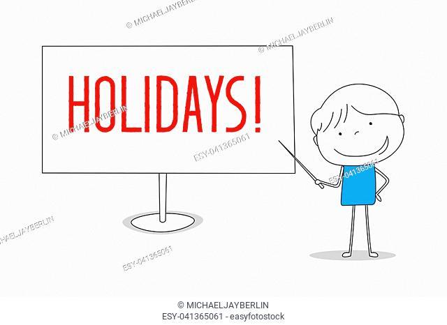 Boy showing Holidays on white board, hand drawn cartoon style illustration sketch