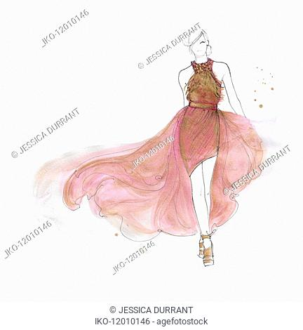 Catwalk fashion model in evening gown with flowing train