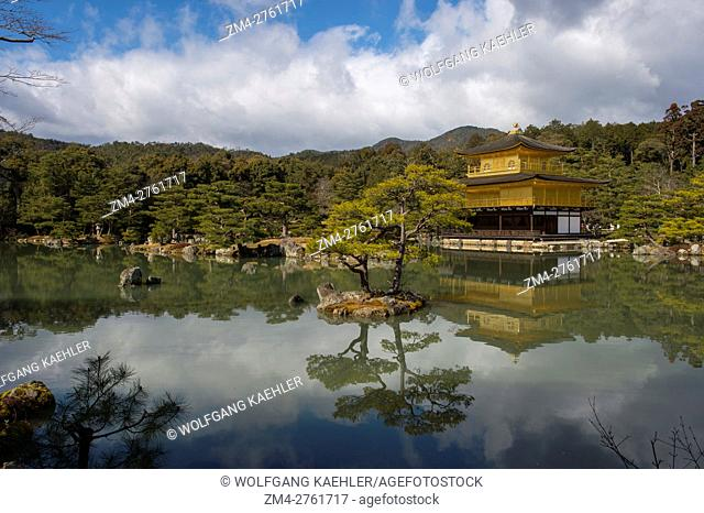 View of the Kinkaku-ji or Temple of the Golden Pavilion which is officially named Rokuon-ji (Deer Garden Temple), and is a Zen Buddhist temple in Kyoto, Japan