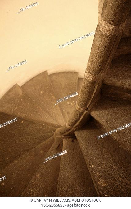 spiral stairs in church in rome italy