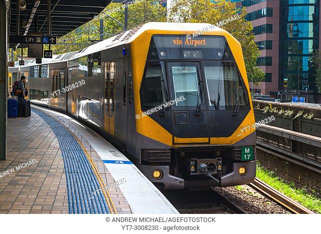 Train arriving at Central station headed for the airport, Sydney, New South Wales, Australia