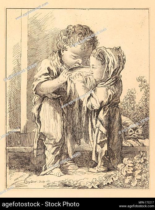 Les Petits Buveurs de lait (The Little Milk Drinkers), from Suite d'estampes gravées par madame la marquise de Pompadour d'après les pierres gravées de Guay