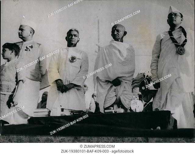 Jan. 01, 1938 - Indian National Congress At Hardupura: Personalities ion the Dias L=-R: Seth -amnalan Baja-i, Darar Gopaldas Dasai; Chair an of the Redeption...