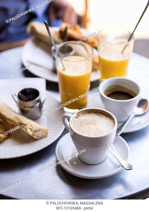 A typical French breakfast served in a Parisian café