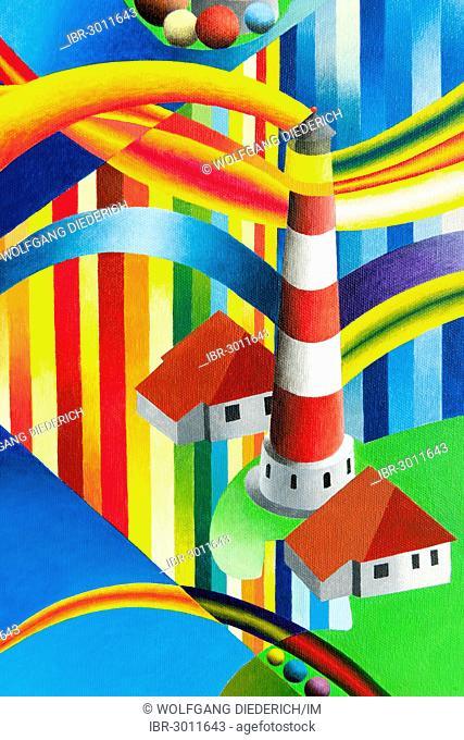 Westerheversand Lighthouse, St. Peter-Ording, acrylic painting, artist Gerhard Kraus, Kriftel