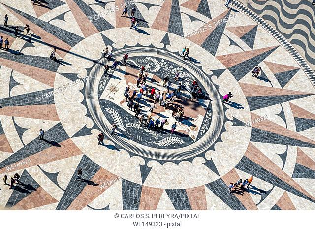 The mosaic map of the Portuguese maritime discoveries at the monument to Pioneers. District of Belem in Lisbon
