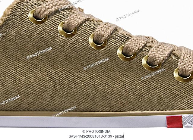 Close-up of a canvas shoe