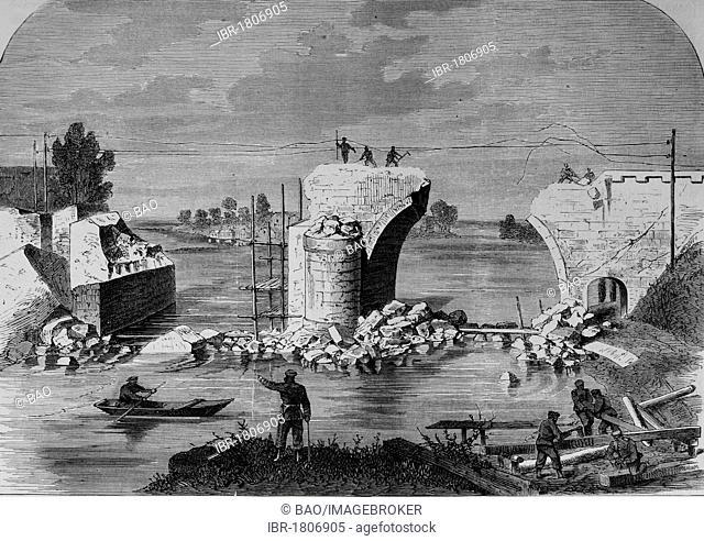 Blown up railway bridge near Trilport outside Meaux on the Marne River, Illustrierte Kriegschronik 1870 - 1871, Illustrated War Chronicle 1870 - 1871