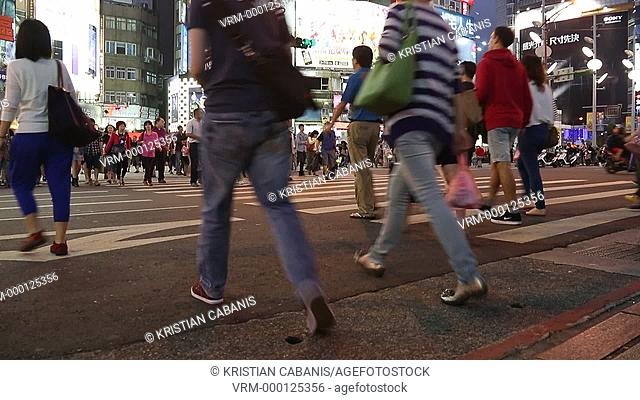 People crossing the street, Taipei, Taiwan, East Asia