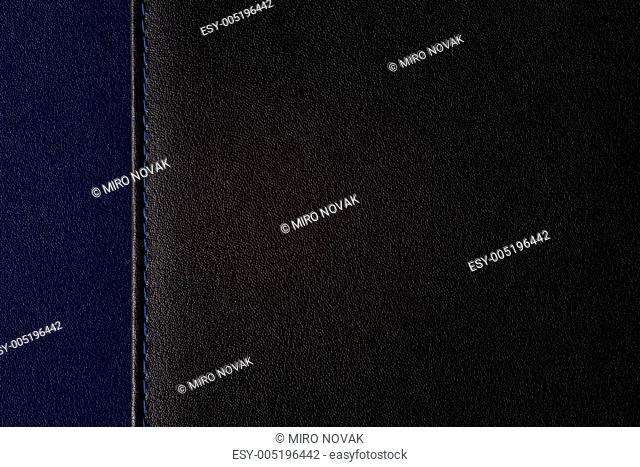 leather background segmented on two parts, black and blue