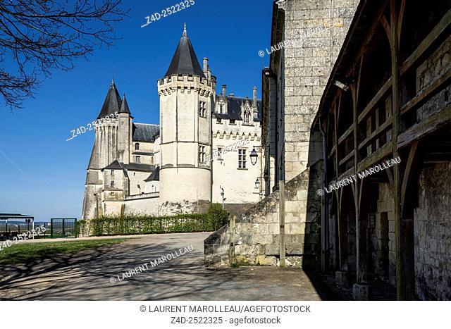 Former Barracks (Caserne Feuquières) and the Castle of Saumur in the background. Maine et Loire, Pays de la Loire Region, Loire Valley, France, Europe
