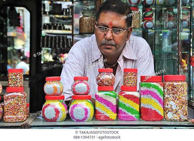 Sweets shop on the main shopping street near Ganges river