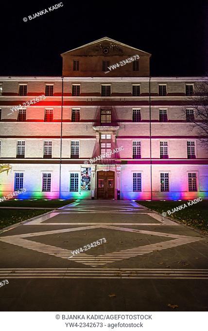 Fabre Museum illuminated with colourd lights, Montpellier, France