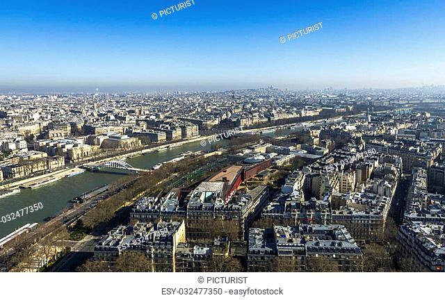 View on the city of Paris from Eiffel Tower, Paris, France