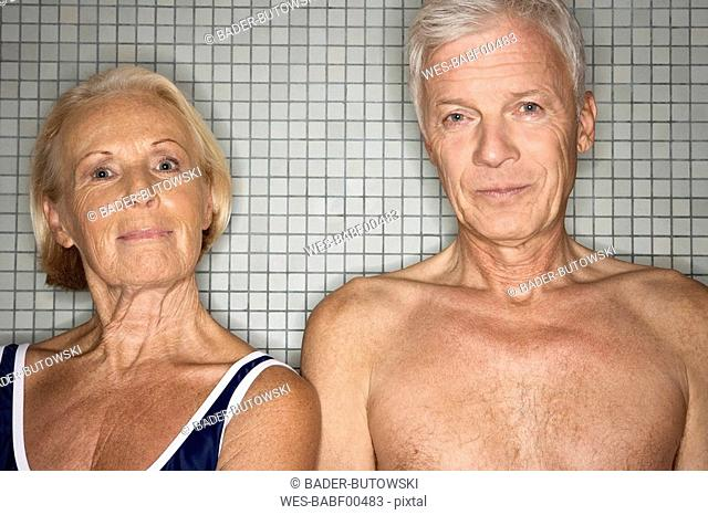 Senior couple in changing room